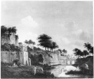 Landschap met baders aan de voet van een vestings- of stadswal