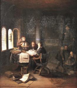Geleerden in een studeerkamer met boeken en globes