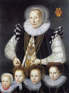 Portret van Catharina Broelman (1559-?), echtgenote van Bernhard Sigismund von und zum Pütz (1558-1628) met hun vier dochters Sophia, Gertrud, Christine en Catharina