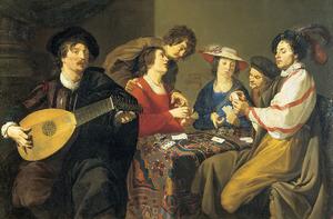 Luitist bij een kaartspelend gezelschap
