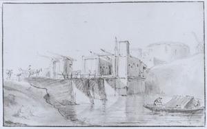 Bolwerk van een stad met brug