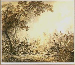 Gevecht tussen Engelse Dragonders en Franse infanterie in Noord Holland in 1799