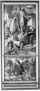 De opstanding (boven), de vlucht naar Egypte (onder)