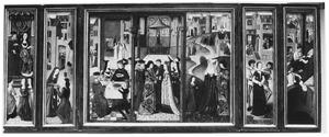 De H. Godelieve met haar ouders Heinfried en Odgive en haar twee zussen Ogena en Adèle, de H. Godelieve bekommert zich om de armen (links), de H. Godelieve geeft een deel van het feestmaal voor de graaf van Boulogne aan de armen, het huwelijk van de H, Godelieve en Bertolf, de samenzwering van Iselinde en haar zoon Bertolf tegen de H. Godelieve (midden), de wurgdood van de H. Godelieve, de H. Godelieve wordt gewassen in een bron en haar lichaam in bed gelegd (rechts)