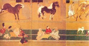 Paarden met verzorgers in de stal (3 van de 6 panelen van een kamerscherm)