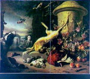 Dode haas bij stenen vaas met relief, dood pluimvee, mand met fruit, hond, twee vogels en jongen met groentenmand in park