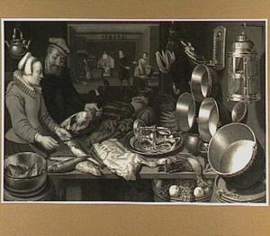 Keukenstuk met in de achtergrond de Emmausgangers