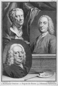 Portretten van de kunstenaars Balthasar Denner (1685-1749), Jacques Ignatius de Roore (1686-1747) en Johannes Vollevens (1685-1759)