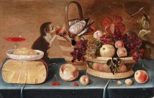 Stilleven met kaas, boter, vruchten, gevogelte en een jonge poes (weggeschilderd)