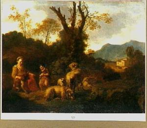 Een herderin en een plassende jongen bij enkele schapen in een zuidelijk landschap