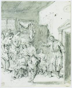 Vrouwen in een slaapkamer opgeschrikt door een man