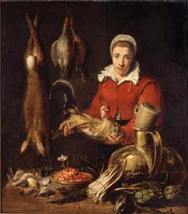 Keukeninterieur met meid met een haan in de hand
