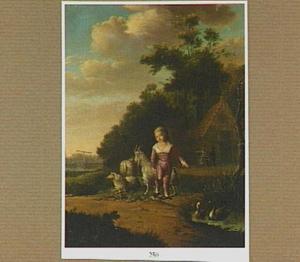 Jongetje met een geit aan een lijntje in een landschap