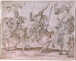 Godfried van Bouillon, Karel de Grote en Koning Arthur te paard