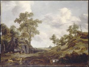 Landschap met schaapherders bij een hut in de duinen