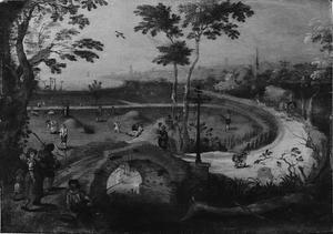 Herfstachtig landschap met figuren