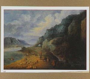 Berglandschap met herders op de oever van een rivier
