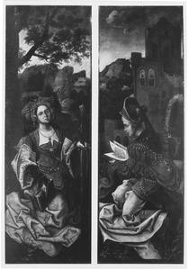 De H. Catharina (links); de H. Barbara (rechts)