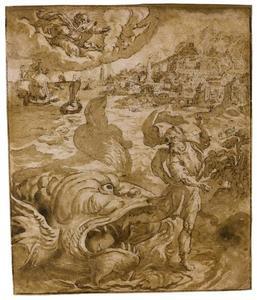 De profeet Jona door de walvis aan land gezet (Jona 2:10)