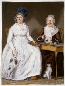 Dubbelportret van Gothofreda Geertruy van Coeverden (1721-1804) en haar dochter Albertina Godefrida Royaards (1761-1802)
