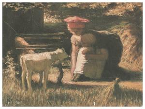 Vrouw met kind en geitje