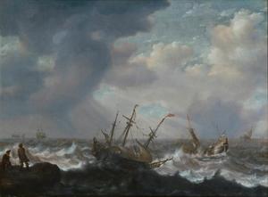 Driemaster en andere schepen op stormachtige zee