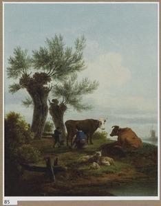 Landschap met vee en herders bij twee wilgen