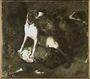 Stilleven met honden en een kat