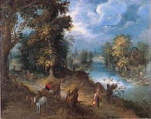 Rivierlandschap met reizigers en vissers