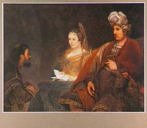 Ester beschuldigd Haman voor Ahasveros; Haman smeekt voor zijn leven (Ester 7:1-17)