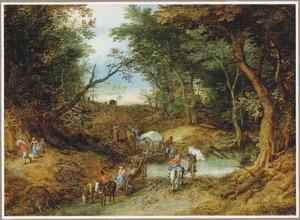 Boslandschap met boeren, reizigers en karrenvoerders bij een ondergelopen weg