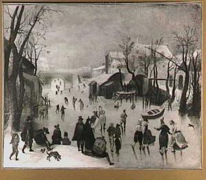 Winterlandschap met veel figuren