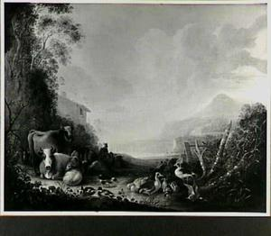 Landschap met vee en eenden
