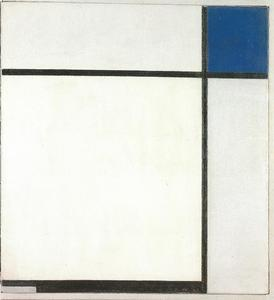 Composition with blue, black, and gray