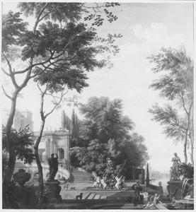 Gezicht op een terras met beeldhouwwerk en bomen voor een groot paleis