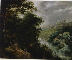Bebost rivierlandschap met een jager en zijn honden op een pad, een dorp in de achtergrond