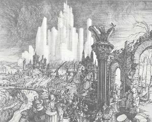 Ruïnes met op de achtergrond een nieuwe metropool