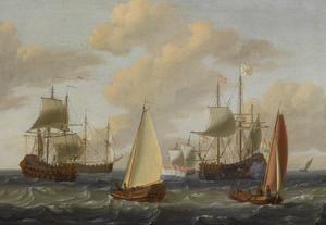 Zeegezicht met Engelse en Hollandse schepen bij een flinke bries