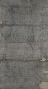 De heilige Gertrudis uit Nijvel zittend op een paard achter een jonge man (De vroege cartons, nr. 7)