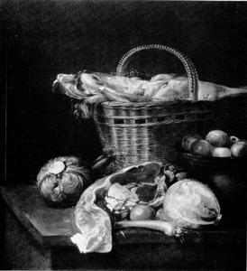 Stilleven met vlees en groenten