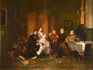 Portret van Isaac Lambertus van den Berch (1811-1879) met zijn gezin en zijn schoonouders