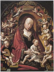 Maria met kind omgeven door engelen