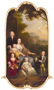 Portret van Johann Friedrich Hoffmann (1717-1777) en Sophia Caan (1727-1800) en hun vier oudste kinderen