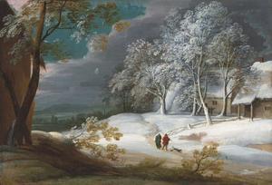 Winterlandschap met wandelaars en een hond met huizen in de achtergrond