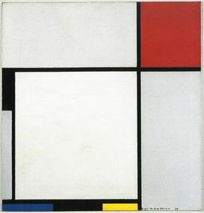 Composition with red, black, blue, yellow, and gray