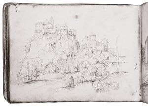 Rotslandschap met fantastisch kasteel