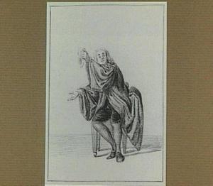 Zittende man in wijde mantel, in zijn linker hand een zakdoek