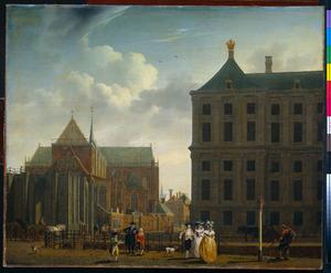 De nimmer voltooide toren van de Nieuwe Kerk en de achterkant van het Stadhuis te Amsterdam