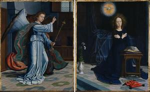 Gabriël van de Annunciatie (links), Maria van de Annunciatie (rechts) (oorspronkelijk onderdeel van het Cervara-Altaar)