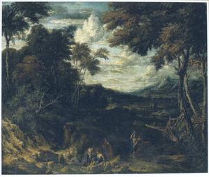 Zuidelijk landschap met figuren